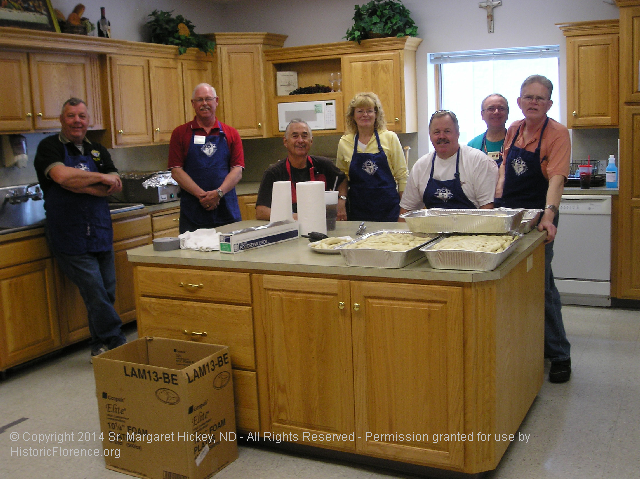 Image - Photo of the The Knights of Columbus, Mary Our Queen workers at the Annual Notre Dame Sisters Pork Dinner