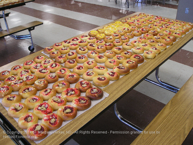 Image - Photo of some of the 250 Kolache baked for the Annual Notre Dame Sisters Pork Dinner