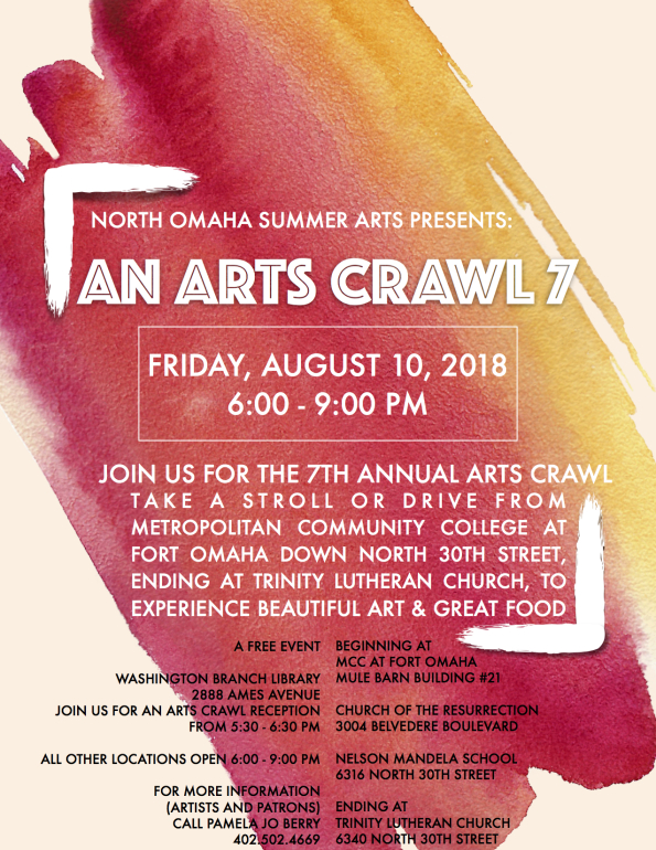 Ad for North Omaha Summer Arts - Arts Crawl.